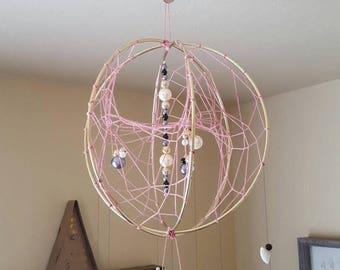 3D Dream Catcher with Bones and Beads and Feathers