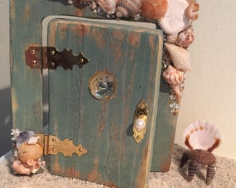 Fairy Beach Door with Sea Shell Chair, Fairy Door, Sea Shell Door, Fairy Door and Chair Set