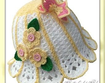 White/yellow Handmade Crocheted Baby Cloche Hat, Summer Hat for Girls