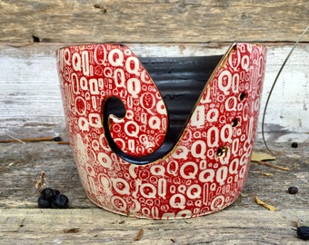 Red large yarn bowl handmade pottery