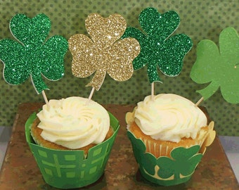 12 St Patrick's Day 2 Sided Shamrock 3 Leave Clover Cupcake Toppers in Green, Gold and Green Glitter, and Spring Green with Glitter Accent