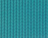 Cotton Fabric, Heather Bailey, True Colors Checkerbone Twilight Quilting Weight Cotton Fabric, Teal and Navy Fabric, Herringbone