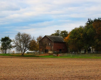 Rustic Midwest Farm House, Country Landscape, Farmhouse, Barn, Photography, Print, Photo