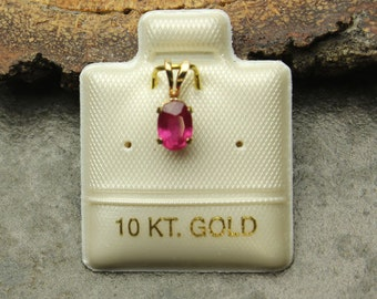 Ruby Gold Pendant, Genuine Red Ruby Gemstone in 10KT Yellow Gold Pendant, Oval Faceted Ruby