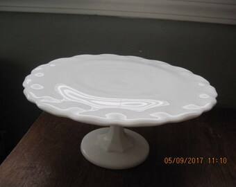 Vintage White Milk Glass Cake Plate with Pedestal