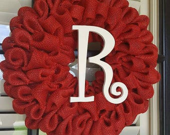 Bubble Burlap Wreath, Red Wreath, Burlap Bow, Initial