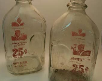 Vintage Adohr Farms Milk Bottles