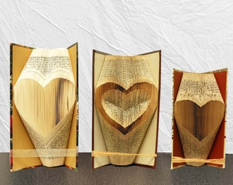 Heart - THREE PATTERNS folded book art - folded page - book art - valentine's day gift - gift for him - wedding gifts - gift for her