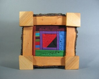 Miniature Quilt in Wild Apple Wood Frame by pam beal & wayne walma