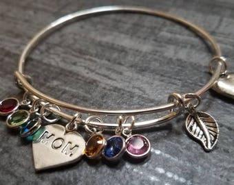 Family Tree, Personalized Bracelet, Birthstone Bracelet, mom, personalized gift, mom bracelet, mom charm bangle, personalized jewelry, gift