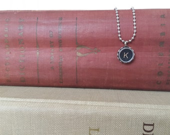 vintage typewriter necklace letter {k} authentic