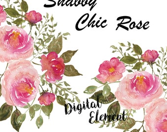 Watercolor Flower Clip-art, Shabby English Rose Clipart, Shabby Chic Rosa, Rose, Pink Floral Bouquets, Scrapbook Clip-art. No. WC33