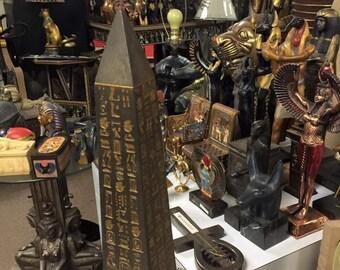 Vintage Egyptian Hand Carved Obelisk