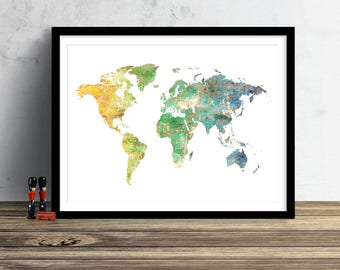 Very bright colorful world map watercolor map style world map watercolor illustration art print large map print map wall art poster home decor gift gumiabroncs Choice Image