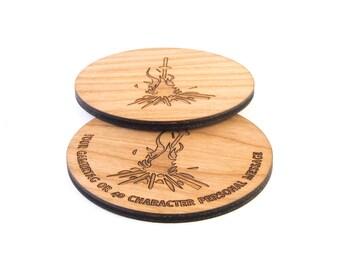 Dark Souls Bonfire inspired coaster, Premium Cherry Wood