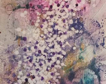 Original large acrylic abstract painting on canvas in lilacs, pink, white and gold reminiscent of the Wisteria by Lynda Colley Originals