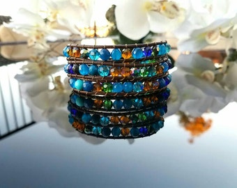 Leather wrap bracelet,  Sterling silver button,  agate, turquoise, Crystals,  blue, boho style, dark brown leather,  everyday wear