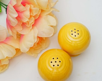 Vintage Set of Canary Yellow Fiestaware Salt and Pepper Shakers c1930s