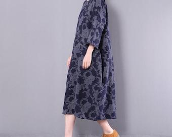 Spring floral dress travel clothing linen vintage dress flower dress loose dress woman