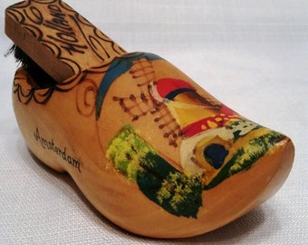 Holland Souvenir, Vintage 1970's, Wooden Shoe and Shoe Brush, Amsterdam, Netherlands, Wall Hanging