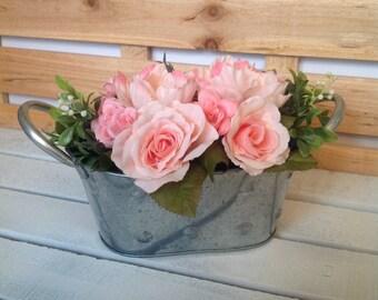 Pink Floral Arrangement, Pink Floral Centerpiece, Wedding Flowers, Bridal Shower Flowers, Rose Floral Arrangement, Rustic Flower Arrangement