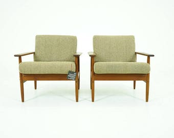 308-147 Danish Mid Century Modern Pair Teak Easy Lounge Chairs Armchairs