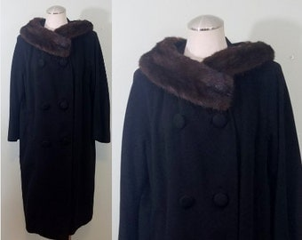 Mid Century Mink and Cashmere Winter Coat / 1950s-1960s Cocoon Jacket / Black and Brown / Fur Collar / Modern Size Large to Extra Large