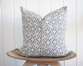 Chinese Embroidered Grey White Pillow Cover Tribal Batik with 100% Belgian Linen Backing Exposed Gold Zipper