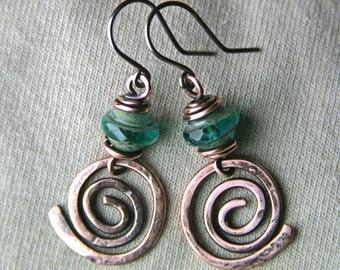Boho Glassed from the Past Celtic Spiral Copper Earrings