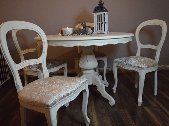 Shabby chic french louis style round dining table and 4 chairs - Shabby chic round dining table and chairs ...
