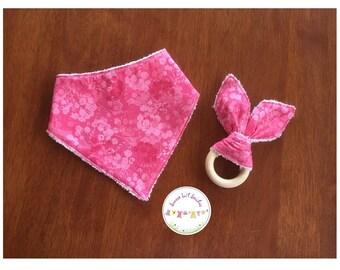 Handmade bandana bib and wooden pink baby shower gift