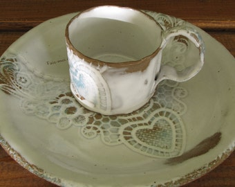 Plate and Cup espresso porcelain, with Bible verse, Impression of heart in lace, handmade