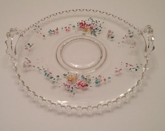 Imperial Candlewick Handled Tray - Hand Painted