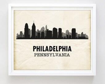 Black & White Philadelphia Art City Print Philadelphia Skyline Print Printable Wall Art Philadelphia Gift Travel Poster DIY Digital Download