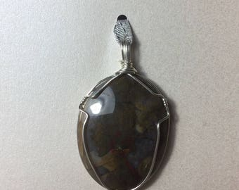 Agate Stone Pendant wrapped in Sterling Silver wire.