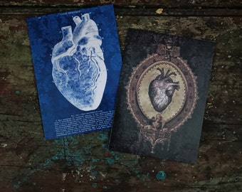 Valentines 2 Pack, Anatomical Gothic Heart, I love you, Medical Anatomy Art,Gothic Decor, Occult,witchcraft Love Spell, luxury greeting card