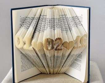 Folded Book Art, Anniversary Gift for a 1st Anniversary, Paper Anniversary, Custom Wedding Date