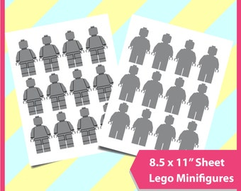 "Lego Template, minigifures template, template PSD, PNG and SVG Formats,  8.5x11"" sheet,  Printable, instant download 148"