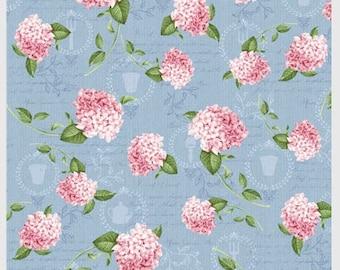 Pink Lady - Per Yd - P&B Textiles - Hydrangeas on Blue