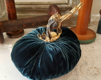 Medium Velvet Peacock Blue Plush Pumpkin with Real Pumpkin Stem