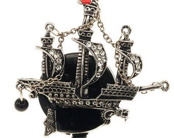 Pirate Ship with Mast-Retractable ID Badge Holder-Pirate Badge Holder-Pirate Badge Reel-Ship Badge Reel-Ship Badge Holder-Pirate-Badge Reel