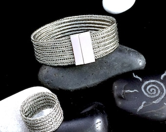 double stainless steel wire crochet bracelet with stainless steel magnetic clasp