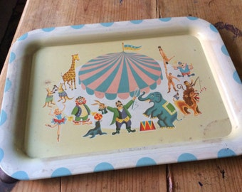 ON SALE-Vintage circus themed tray- vintage tin or metal- great theme-WAS 25