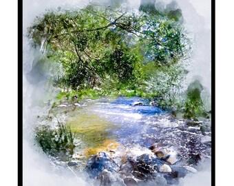 River Portrait Watercolour - Canvas/Decal/Vinyl/Poster