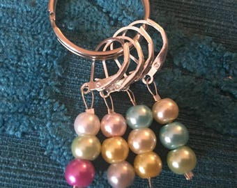 Pearl Bead Stitch Markers, Progress Markers, Crochet Markers, Knitting Markers - set of 4