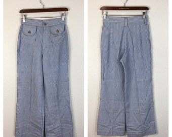 70's vintage Lee striped flare buggy pants womens size w26