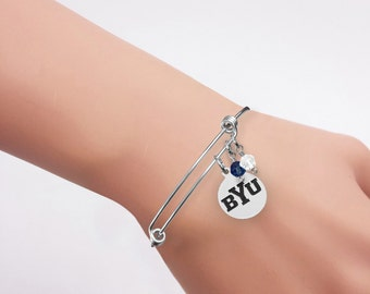 Brigham Young University Cougars Bracelet | Stainless Steel Adjustable Bangle Bracelets | Three Styles | Officially Licensed