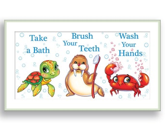 Kids Bathroom Decor Take a Bath, Brush Your Teeth, Wash Your Hands Nautical Nursery Wall Decor Turtle Art Sea Crab Art Walrus Bathroom Rules
