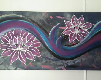 Original Abstract Painting lillies