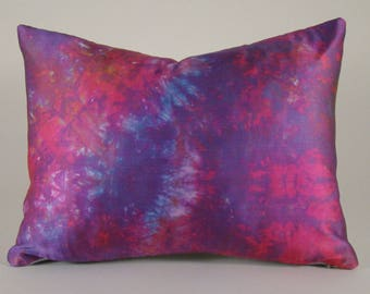 """Custom Hand Dyed Silk Lumbar Pillow Cover in Shades of Pink, Purple and Sky Blue (12 x 16"""")"""